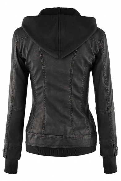 Womens Hooded Faux leather Jacket - Beautifulhalo.com