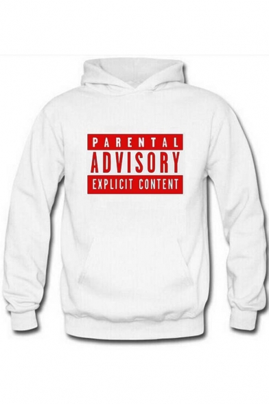 Boyfriend Letter Print Hooded Long Sleeve Hoodie with One Kangaroo Pocket