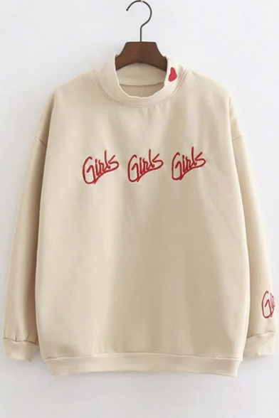 Preppy Style Embroidery Letter Dropped Long Sleeve Heart Embroidery Round Neck Pullover Sweatshirt
