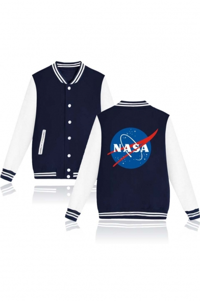 NASA Striped Print Trim Trendy Jacket Baseball Long Back Block Sleeve Breasted Single Color Contrast wqUqzZX