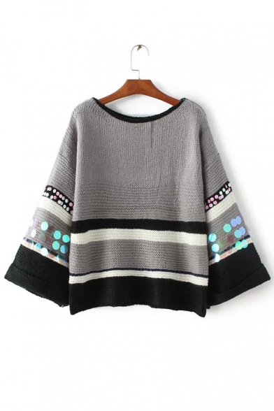 Chic Sequin Embellished Striped Round Neck Sweater