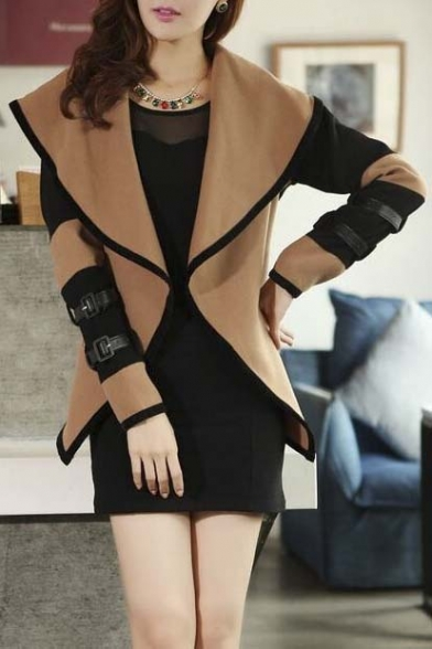 Fashion Big Lapel Contrast Long Sleeve Belt Cuffs Coat