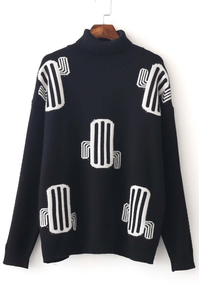 New Stylish High Neck Cactus Pattern Dropped Long Sleeve Sweater