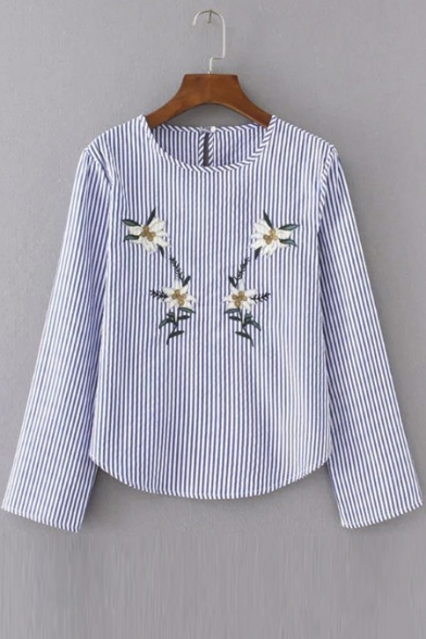 Stylish Floral Embroidery Striped Button Keyhole Back Blouse Top