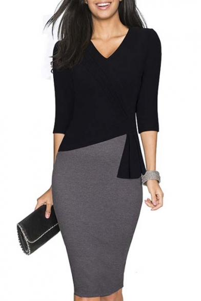 Women's Elegant Patchwork 3/4 Sleeve Wear to Work Bodycon Dress