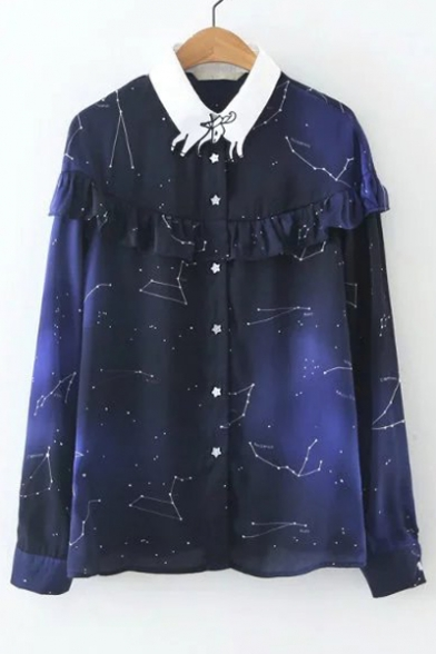 Contrast Ox Lapel Ruffle Front Galaxy Print Single Breasted Button Down Shirt