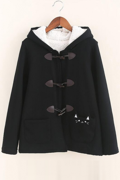 Printed Single Pocket Plain Coat Cat Breasted Cute Hooded tq4xSwE4d