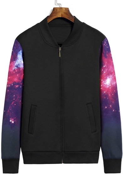 Galaxy Print Fashion Long Sleeve Zip Placket Baseball Jacket LC428974 фото