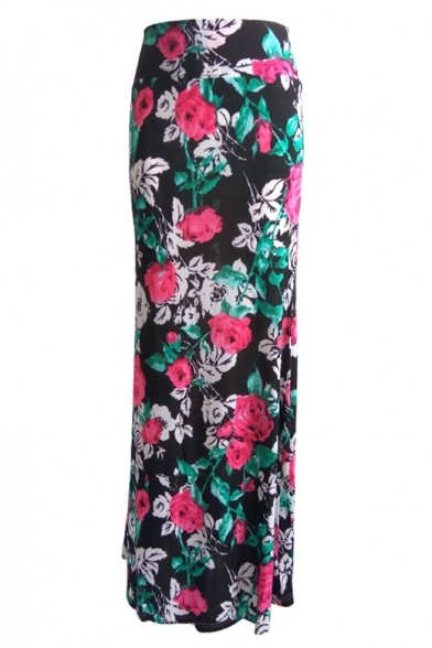 fashion multicolored floral print high waisted maxi