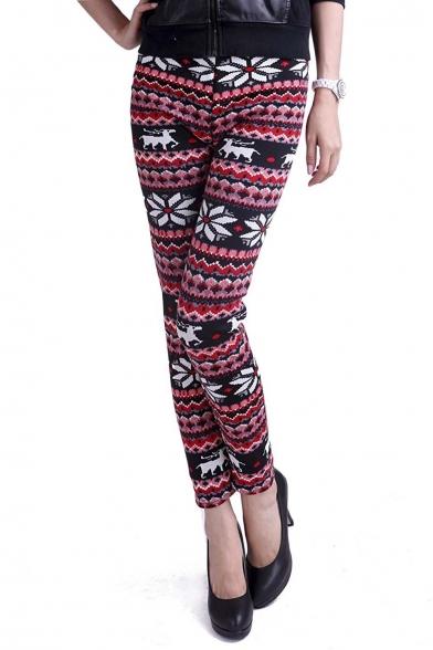 Women Fleece Line Knit Leggings Winter Nordic Design