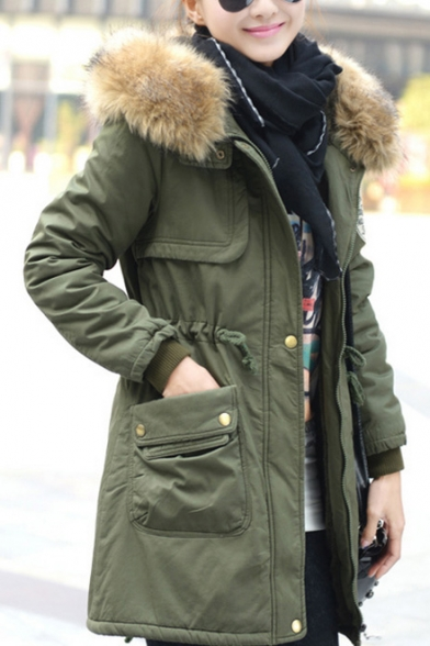 Women's Fur Hooded Winter Warm Zip Placket Warm Coat