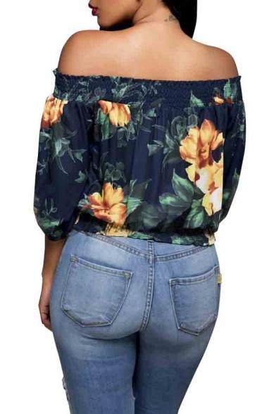 Women's Ruffled Bell Sleeve Shirt Stripless Blouse Off Shoulder Tops