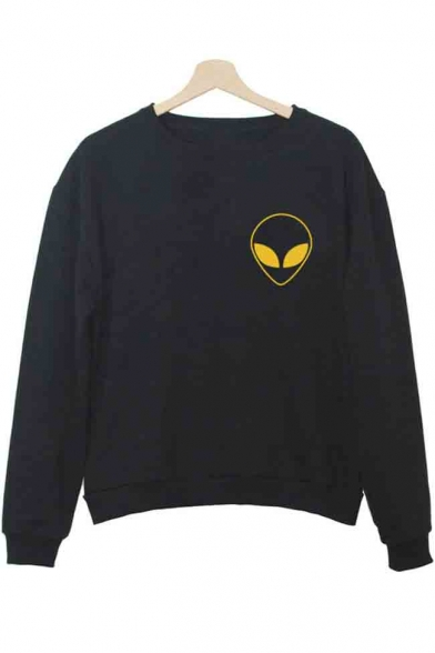 Alien Long Pullover Sweatshirt Sleeve Print Basic Round Neck Women's RTxnRfrwq