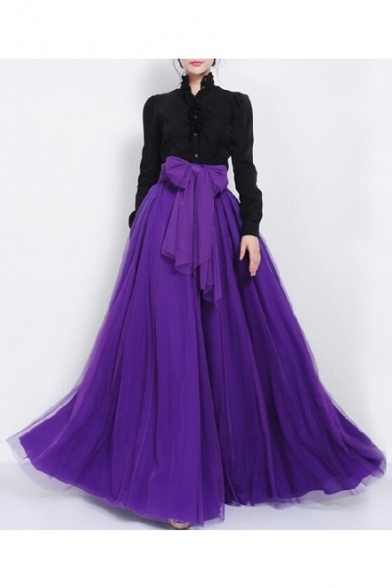 Women s Gauze High Rise Bow Front A-Line Flared Maxi Skirt -  Beautifulhalo.com 0e1f3367a1f