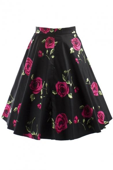 Women S Knee Length Flare Floral A Line Full Circle Skirt