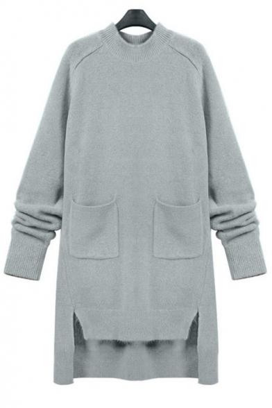 ceb97a86aa5 Women s Oversize Round Neck Long Sleeve High Low Hem Plain Sweater Dress