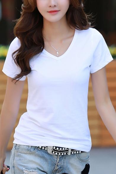 Women S Premium Basic Fitted Soft Short Sleeve V Neck T Shirt