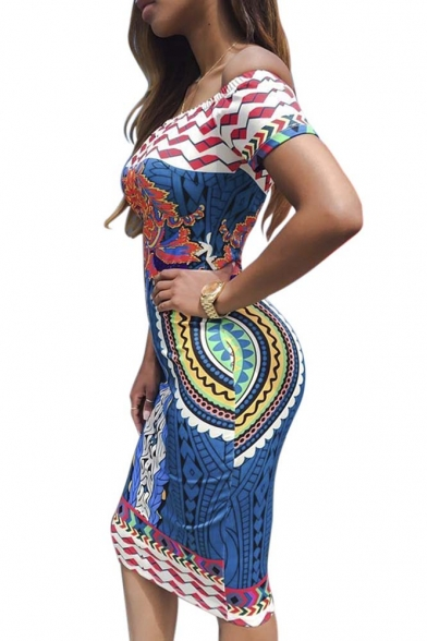 Women Sexy Traditional African Print Dashiki Bodycon Sexy Short Sleeve Dress