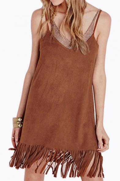 Fashion Tassel Hem V-Neck Open Back Women's Stylish Slip Dress