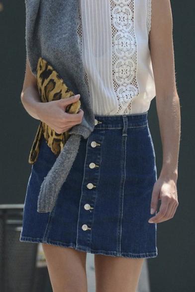 Women's Fashion High Rise Single Breasted Denim A-Line Mini Skirt