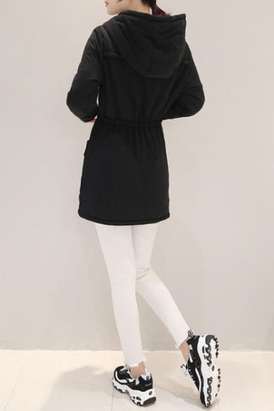 Women's Winter Hooded Zip Placket Warm Cotton Coat