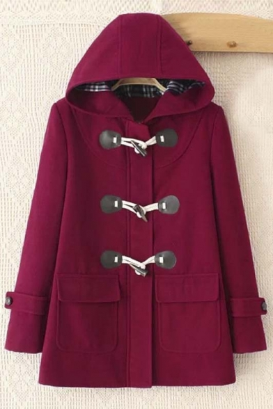 Chic Hooded Single Breasted with Horn Buttons Plain Tunic Coat