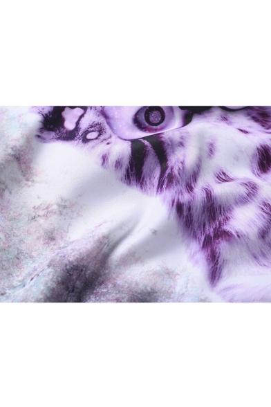 Pullover Long Sleeve 3D Cat Print Color Block Sweatshirt