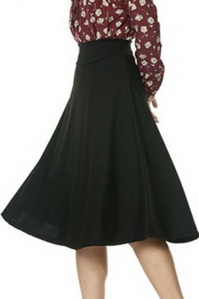 Stretch High Waist A-line Flared Long Skirt