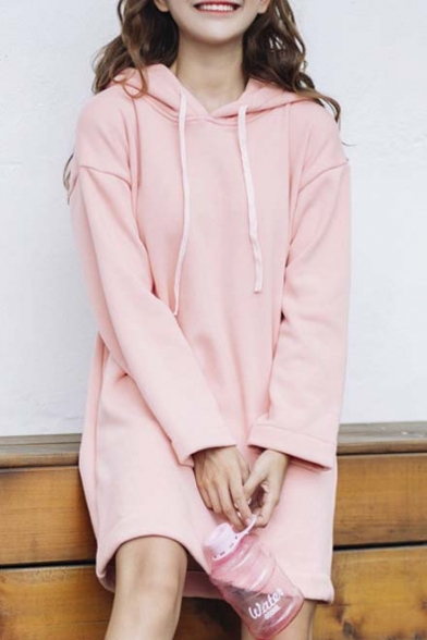 Trendy Hooded Plain Dropped Long Sleeve Tunic Hoodie