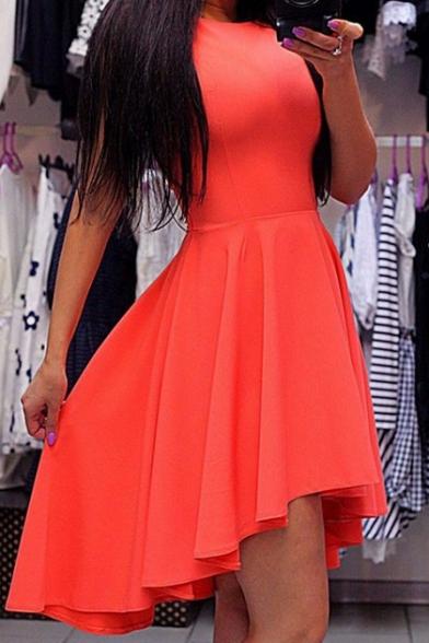 Women's Sleeveless High/Low Hem Plain Midi Asymmetric Dress