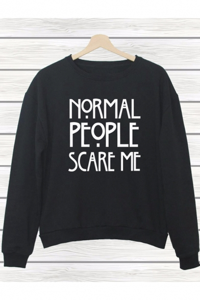 Womens PEOPLE ME Sweatshirt Top SCARE Style NORMAL Print Celebrity 1Zrqw1z