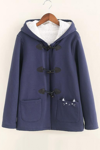 Breasted Coat Pocket Single Hooded Cat Plain Cute Printed IPax00