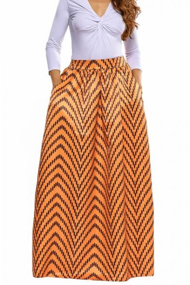 Women African Floral Print Casual A Line Maxi Skirt