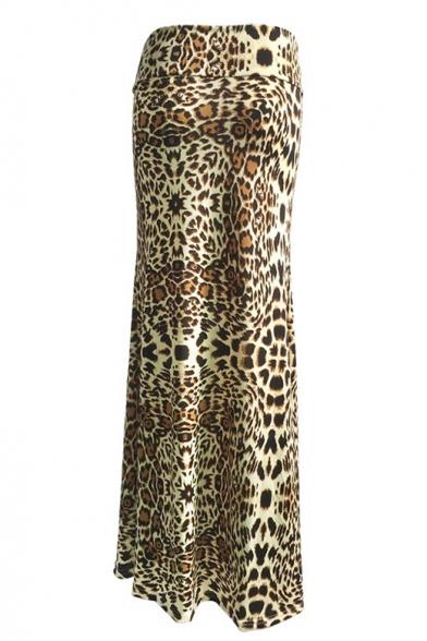 cbcc5eb2d5d4c3 ... Women's High Rise Fashion Leopard Print Full Length Maxi Skirt ...