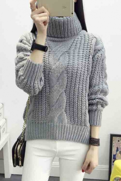 Womens Turtle Neck Solid Color Cable Knit Sweater Beautifulhalo