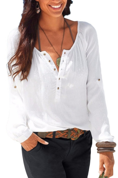 womens casual v neck blouses linen long sleeve button up