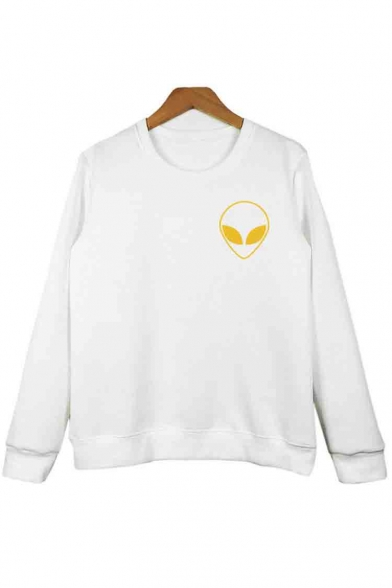 Print Sweatshirt Long Alien Pullover Round Sleeve Neck Basic Women's v7xUFxwq