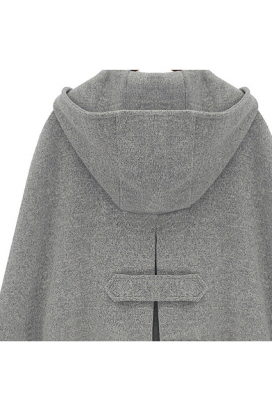 Fashion Hooded Double Buttons Plain Cape with Two Pockets