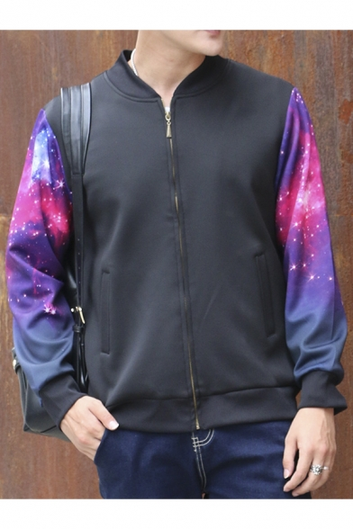 Galaxy Print Fashion Long Sleeve Zip Placket Baseball Jacket