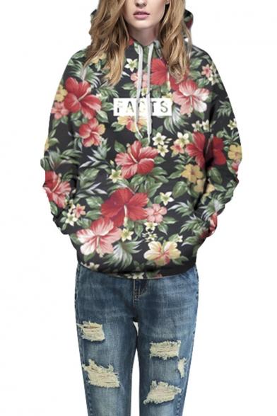 Unisex Simulation Floral Printing Pocket Hooded Sweatshirt