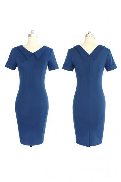 Women's Elegant Lapel Short Sleeve Plain Midi Pencil Dress