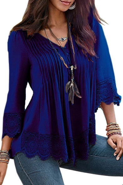 Women's Flare Sleeve Lace Splice Loose Trim Casual Blouse T-shirt Tops
