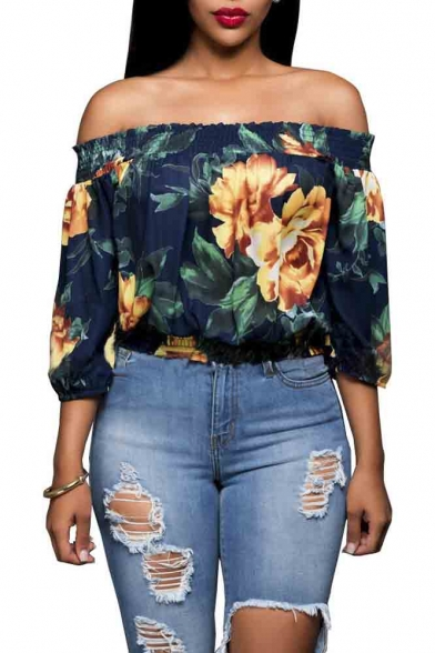 Women's Ruffled Bell Sleeve Shirt Stripless Blouse Off Shoulder Tops