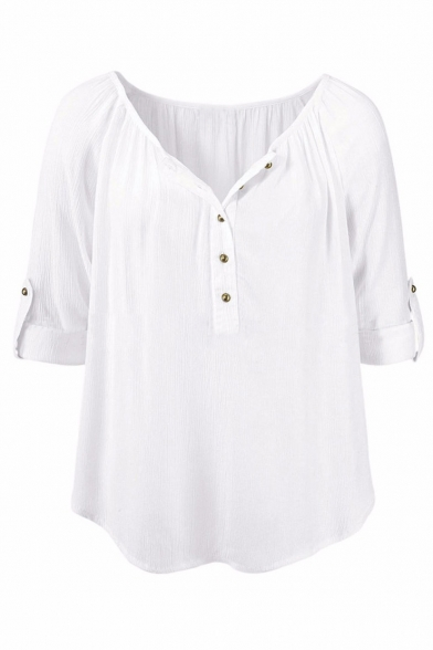 Linen Womens V Up Long Casual Blouses Button Sleeve Shirts Tops Neck Rq4pgx7