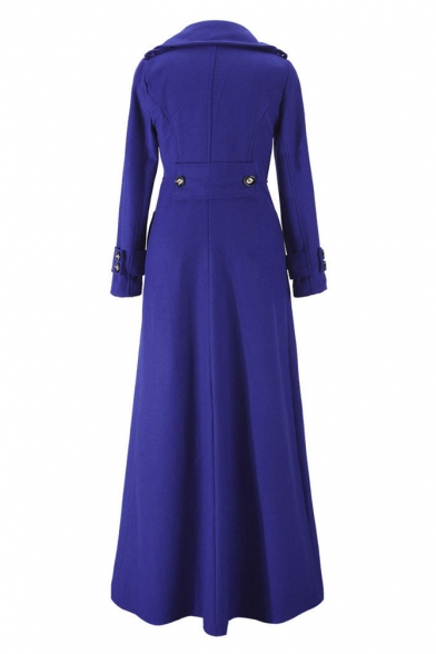Fashion Notched Lapel Single Button Long Sleeve Plain Maxi Coat