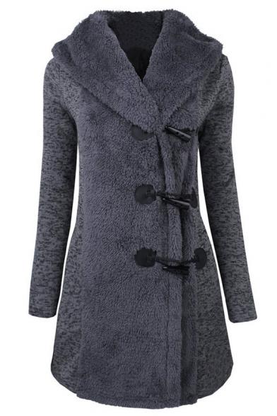 Fashion Slim Hooded Horn Single Breasted Long Sleeve Coat