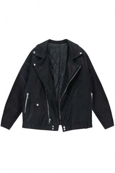 New Boyfriend Style Notched Lapel Zipper Placket Plain Leather Coat