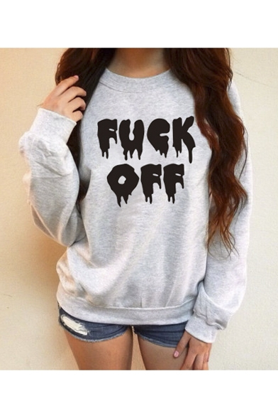 Women's Fashion Street Style Horrible Letter Print Casual Sweatshirt