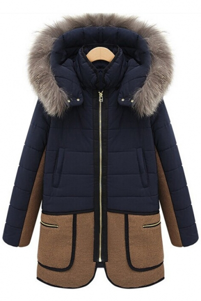 Women's Oversize Color Block Fur Hooded Zip Placket Winter's Cotton Coat