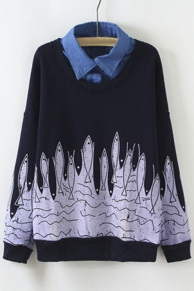 New Two Faux piece Sweatshirt Color Block Fish Print Cartoon 7OHFvwq7